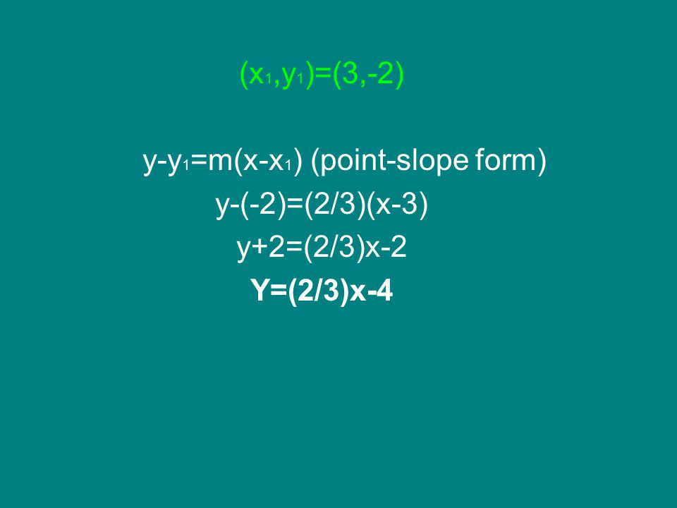 y-y1=m(x-x1) (point-slope form)