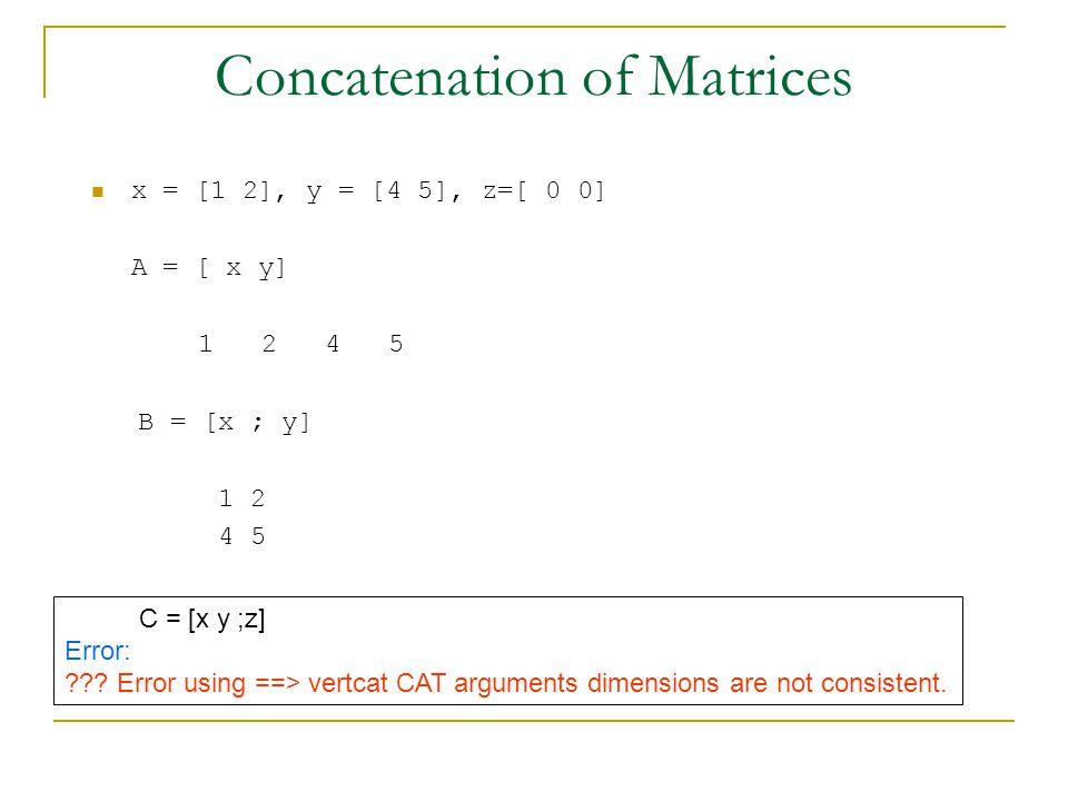 Concatenation of Matrices