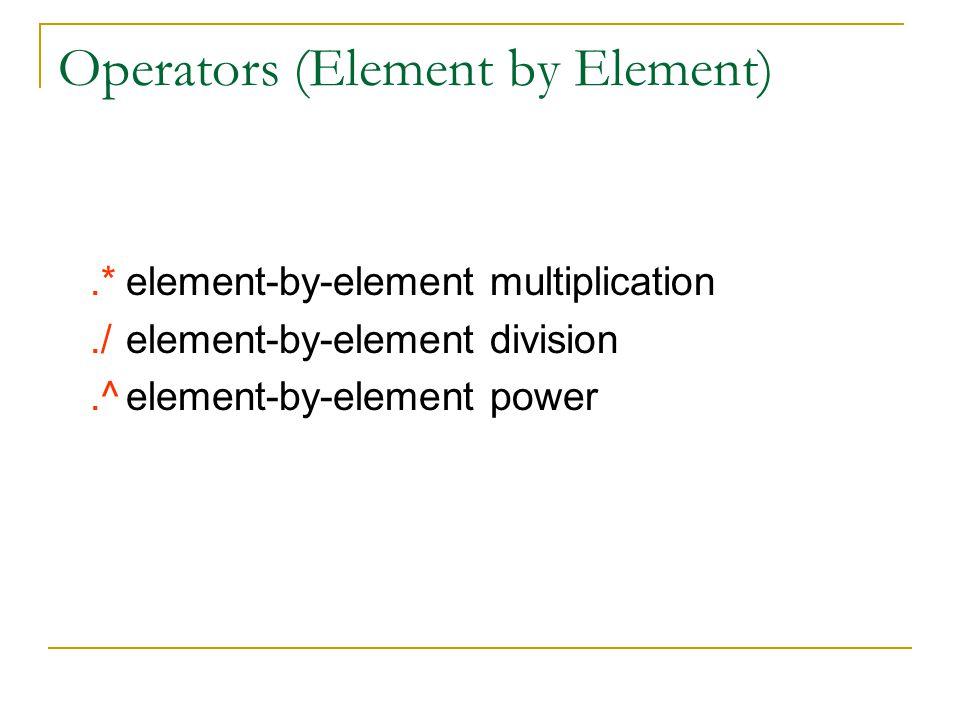 Operators (Element by Element)