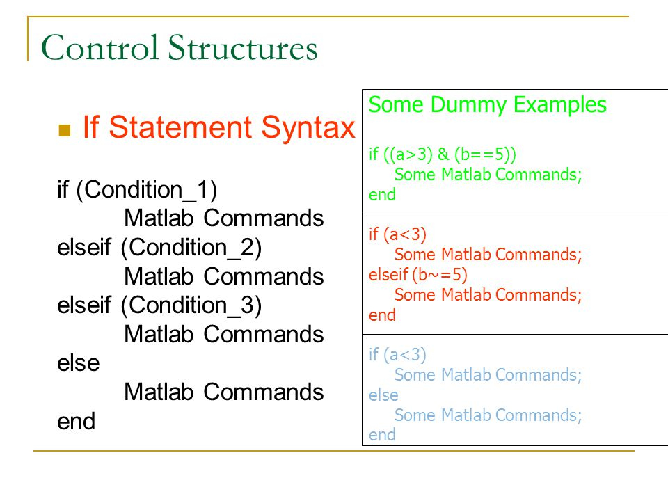 Control Structures If Statement Syntax if (Condition_1)