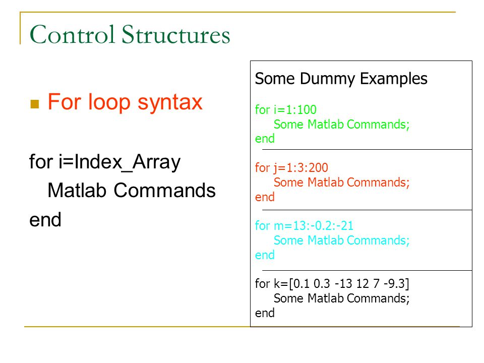 Control Structures For loop syntax for i=Index_Array Matlab Commands