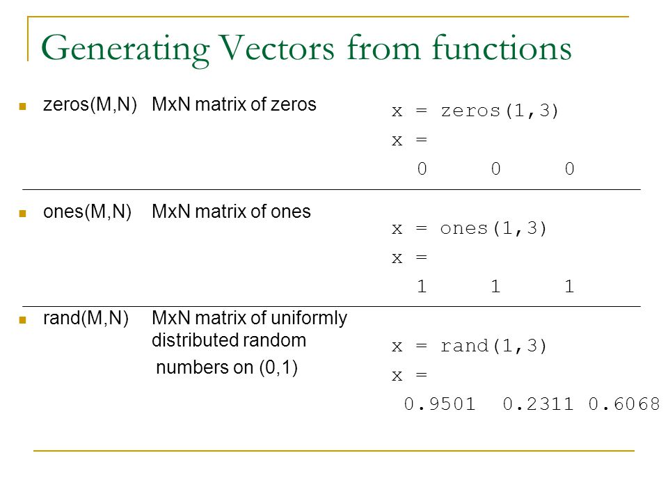 Generating Vectors from functions