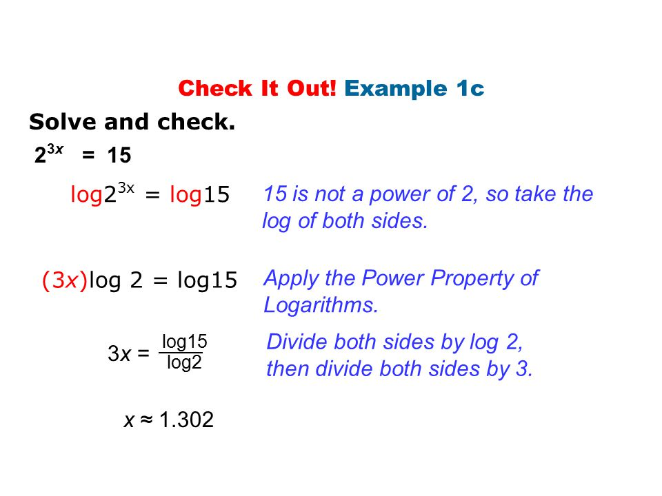 15 is not a power of 2, so take the log of both sides.