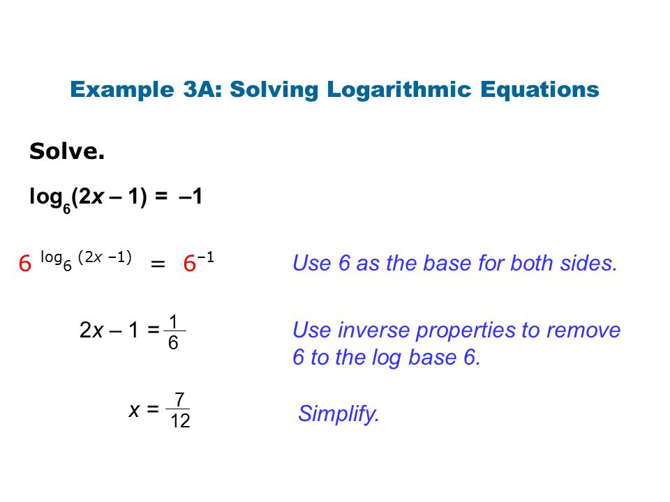 Example 3A: Solving Logarithmic Equations