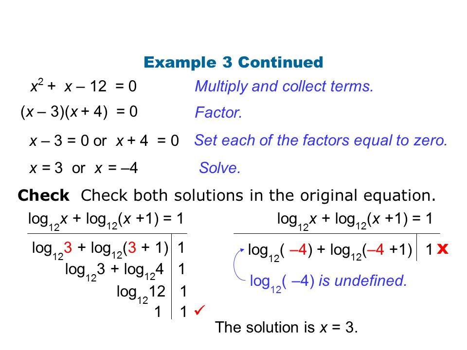 x Example 3 Continued x2 + x – 12 = 0 Multiply and collect terms.