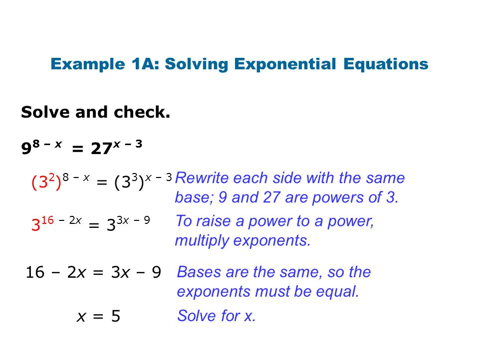 Example 1A: Solving Exponential Equations