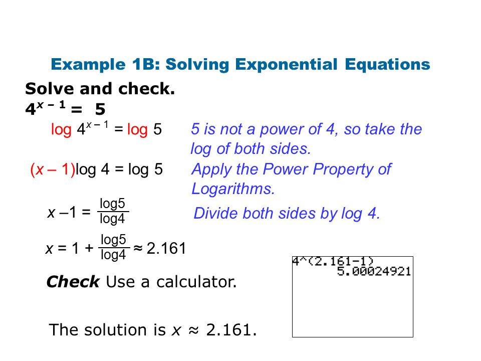 Example 1B: Solving Exponential Equations