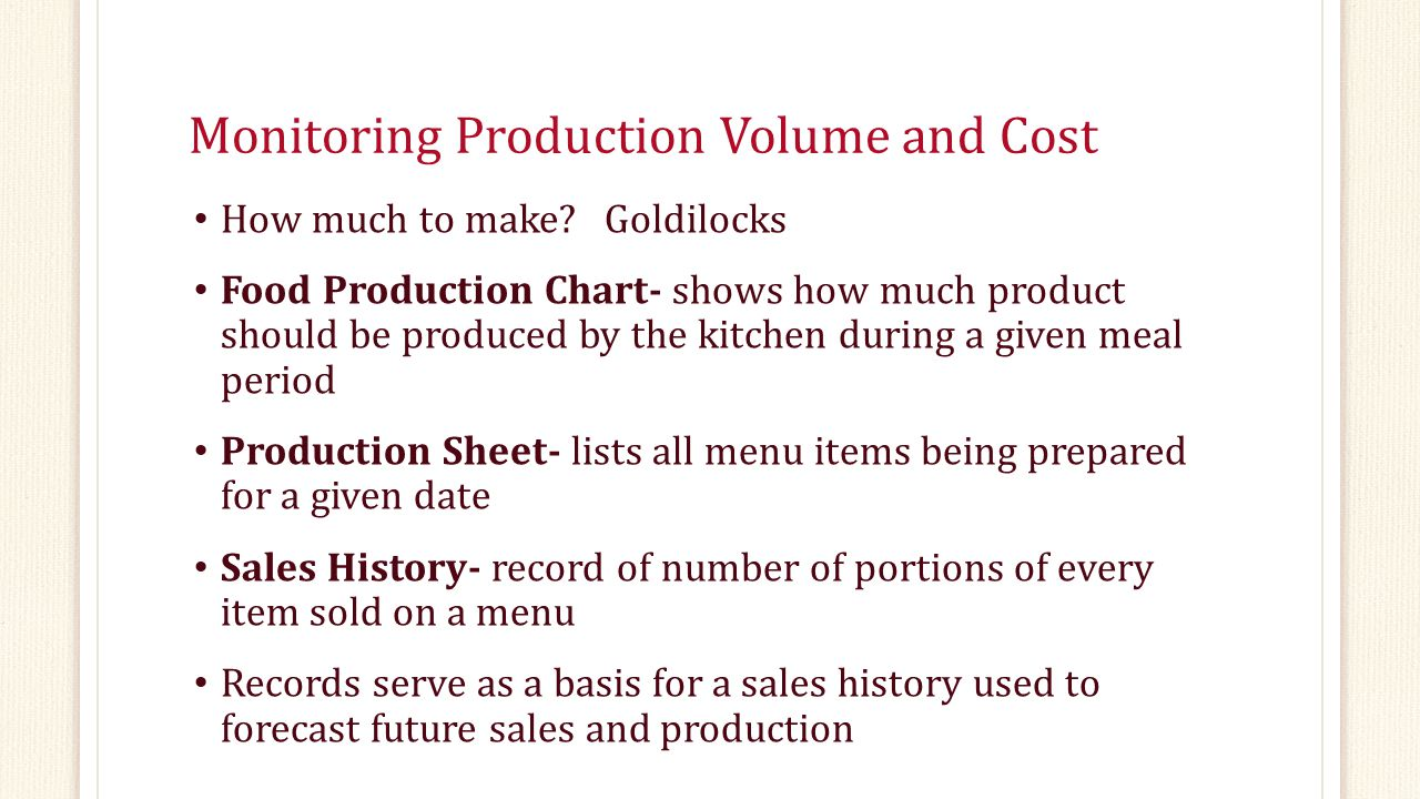Monitoring Production Volume and Cost