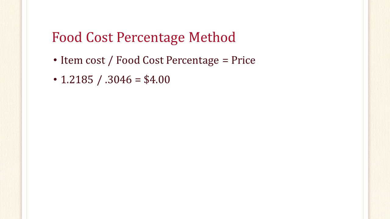 Food Cost Percentage Method