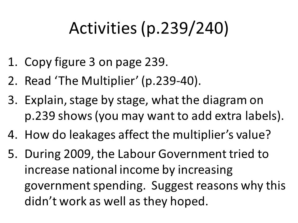 Activities (p.239/240) Copy figure 3 on page 239.
