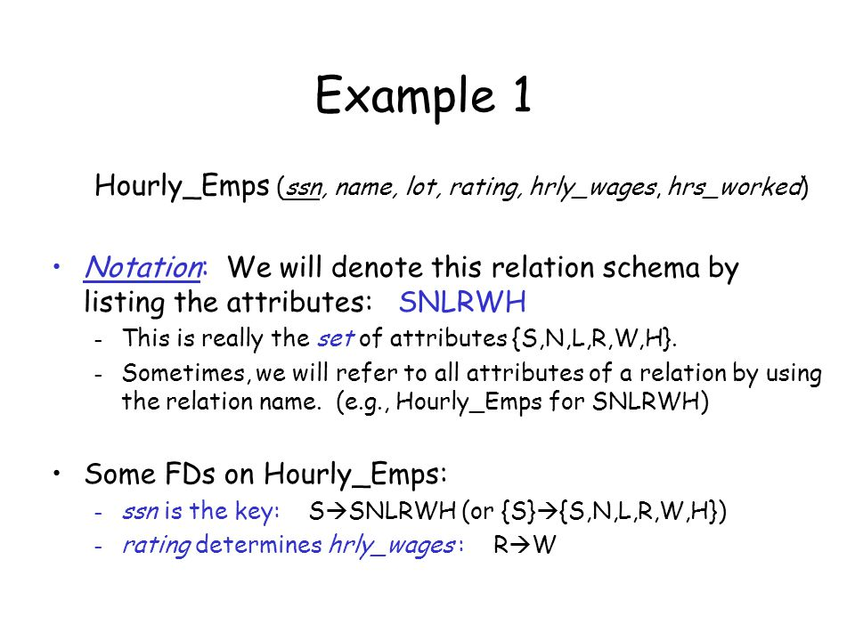 Example 1 Hourly_Emps (ssn, name, lot, rating, hrly_wages, hrs_worked)