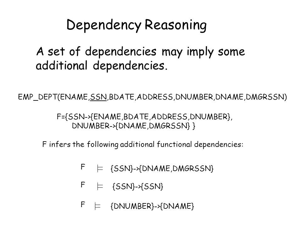 Dependency Reasoning A set of dependencies may imply some additional dependencies. EMP_DEPT(ENAME,SSN,BDATE,ADDRESS,DNUMBER,DNAME,DMGRSSN)