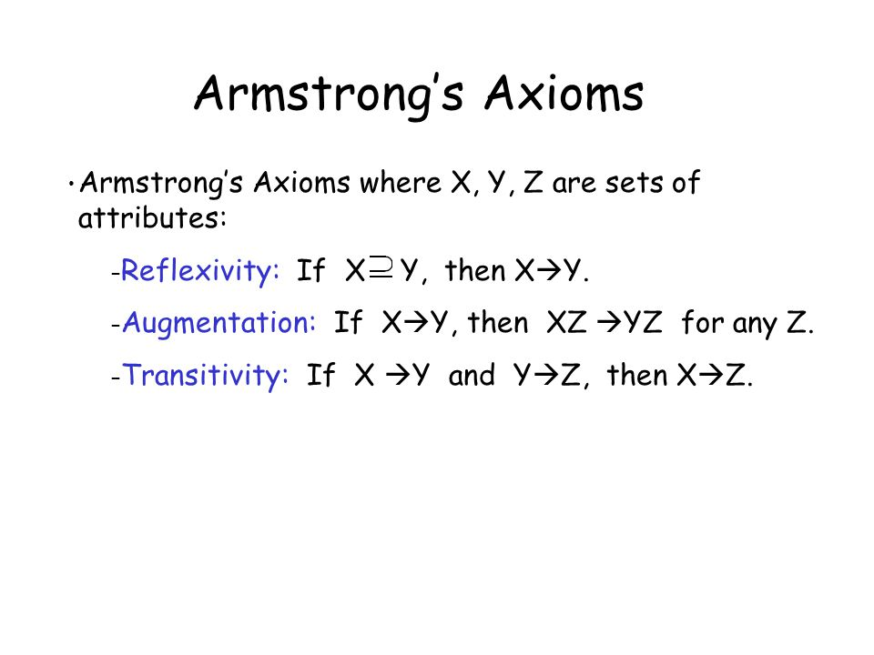 Armstrong's Axioms Armstrong's Axioms where X, Y, Z are sets of attributes: Reflexivity: If X Y, then XY.