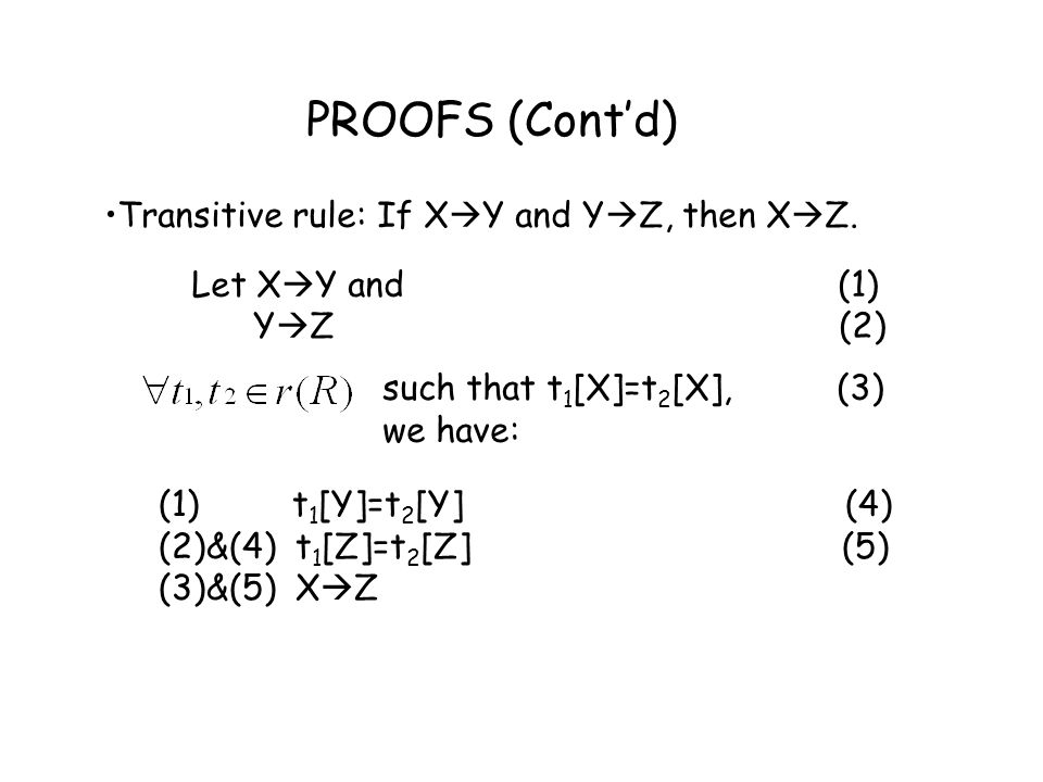 PROOFS (Cont'd) Transitive rule: If XY and YZ, then XZ.