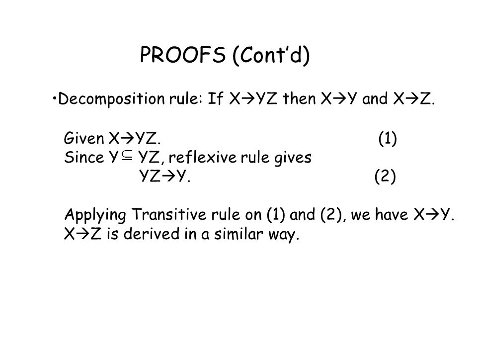 PROOFS (Cont'd) Decomposition rule: If XYZ then XY and XZ.