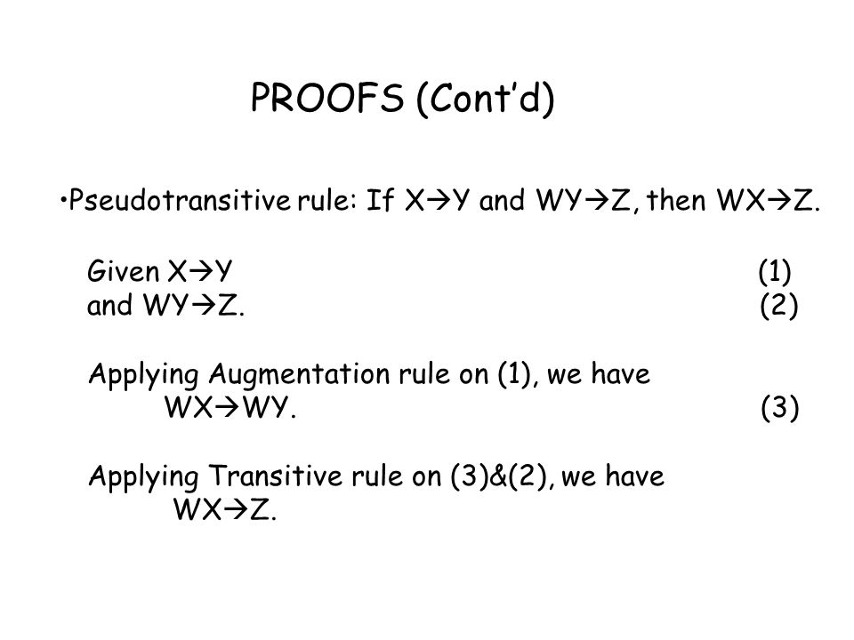 PROOFS (Cont'd) Pseudotransitive rule: If XY and WYZ, then WXZ.