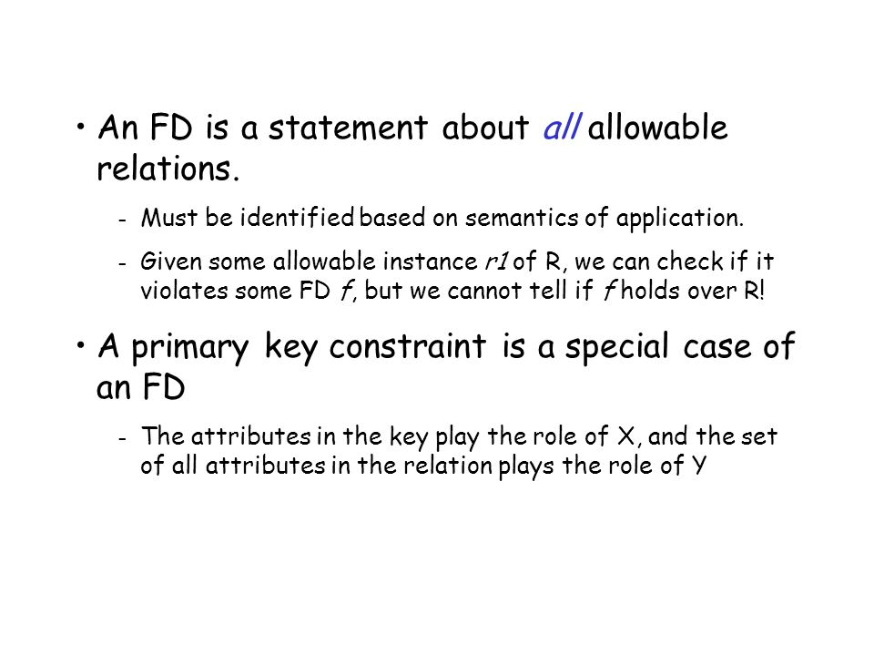 An FD is a statement about all allowable relations.