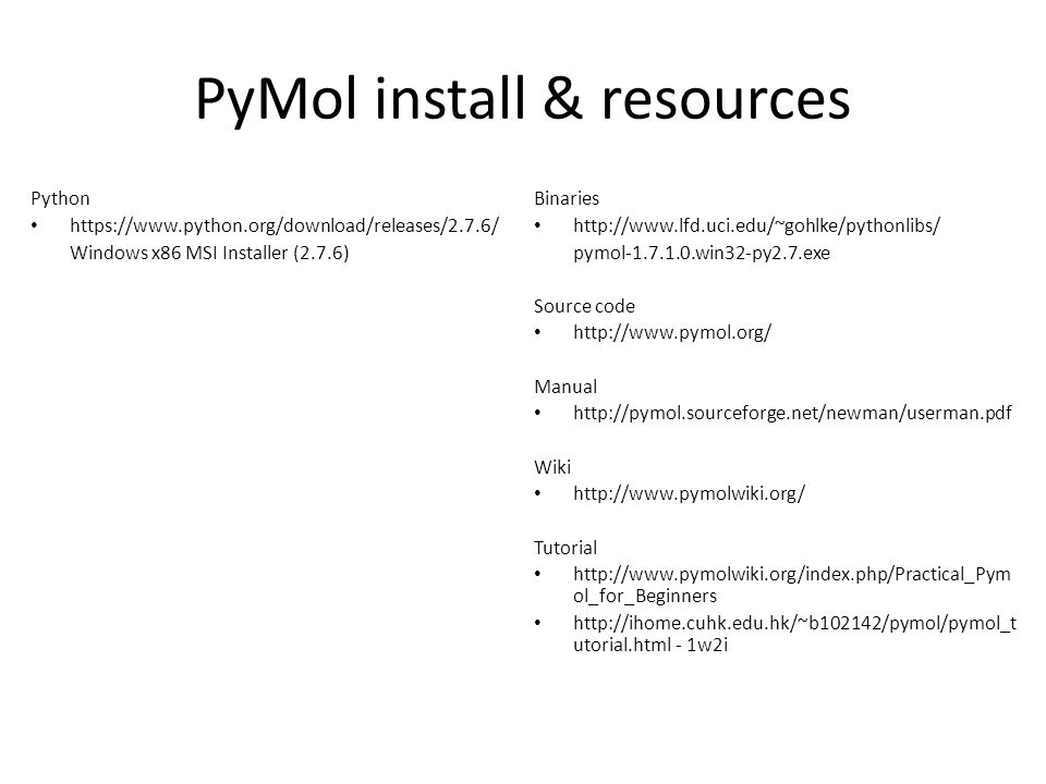 PyMol install & resources