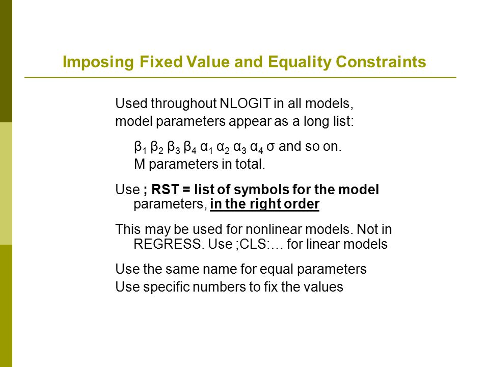 Imposing Fixed Value and Equality Constraints