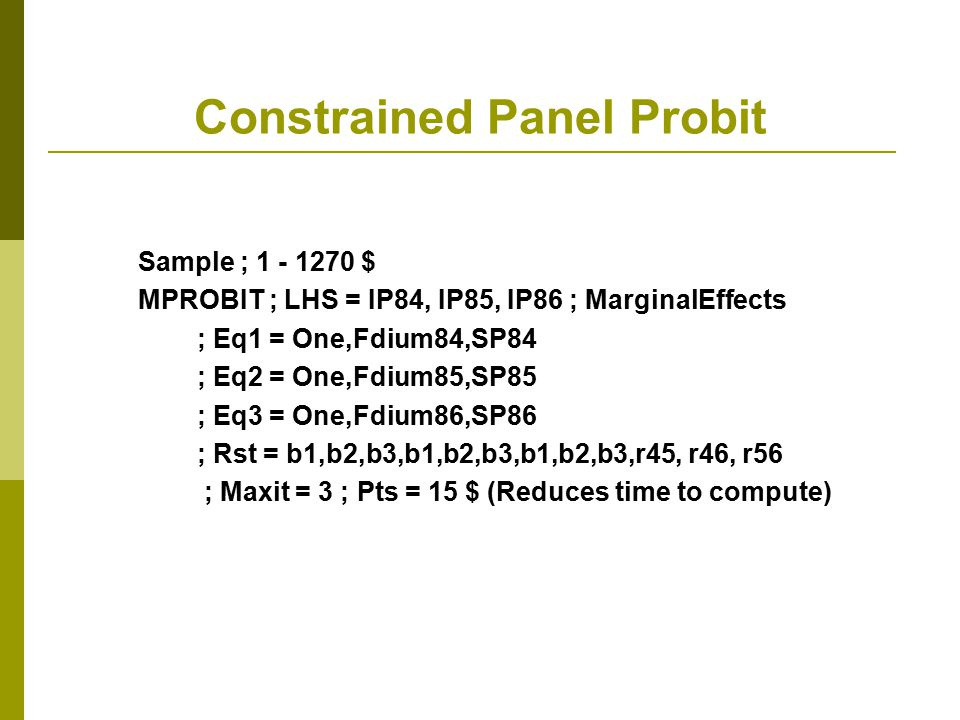 Constrained Panel Probit