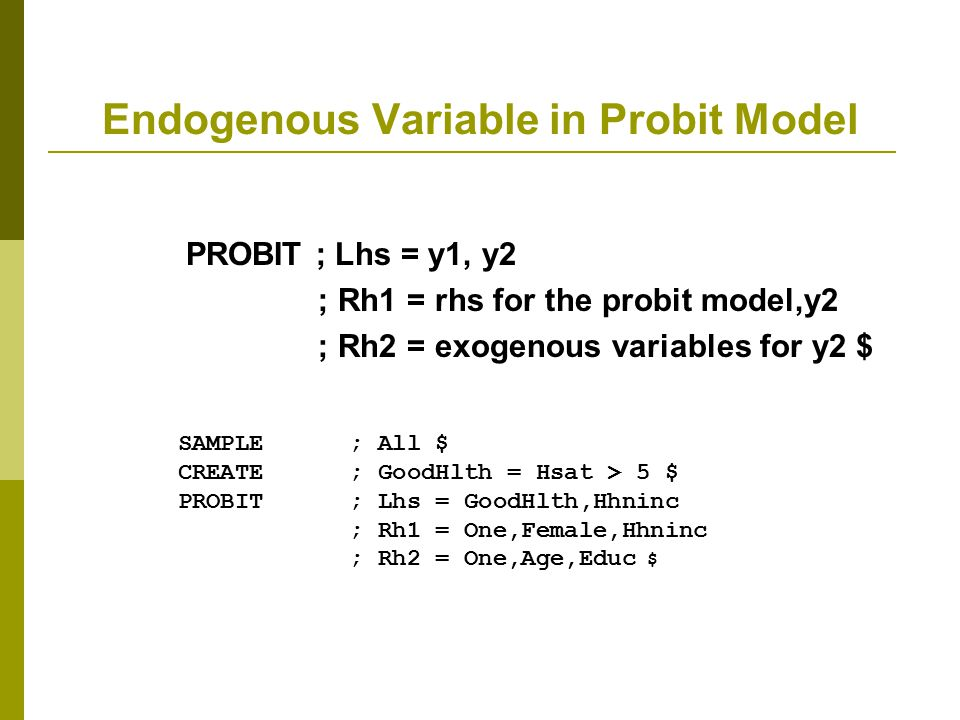 Endogenous Variable in Probit Model
