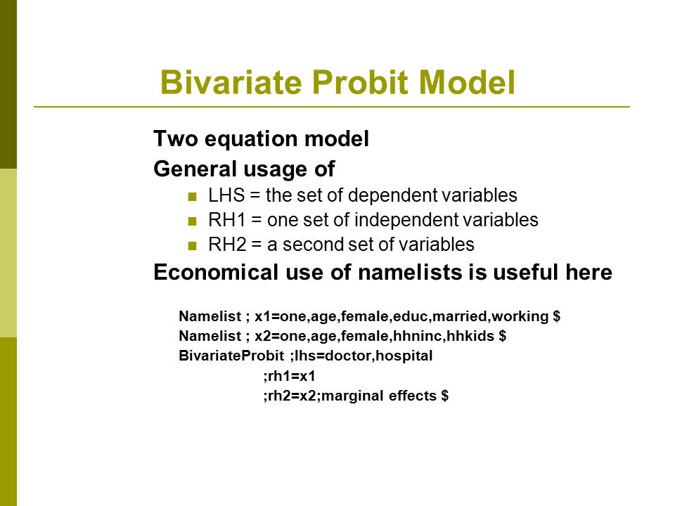 Bivariate Probit Model