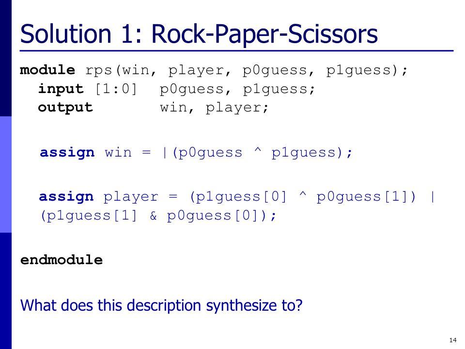 Solution 1: Rock-Paper-Scissors
