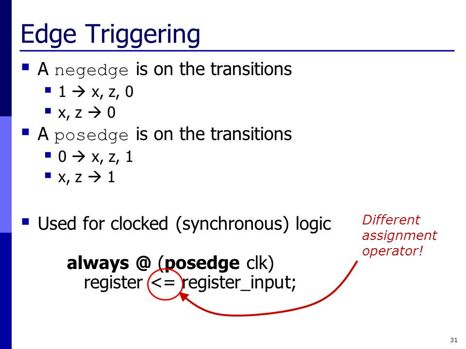 Edge Triggering A negedge is on the transitions