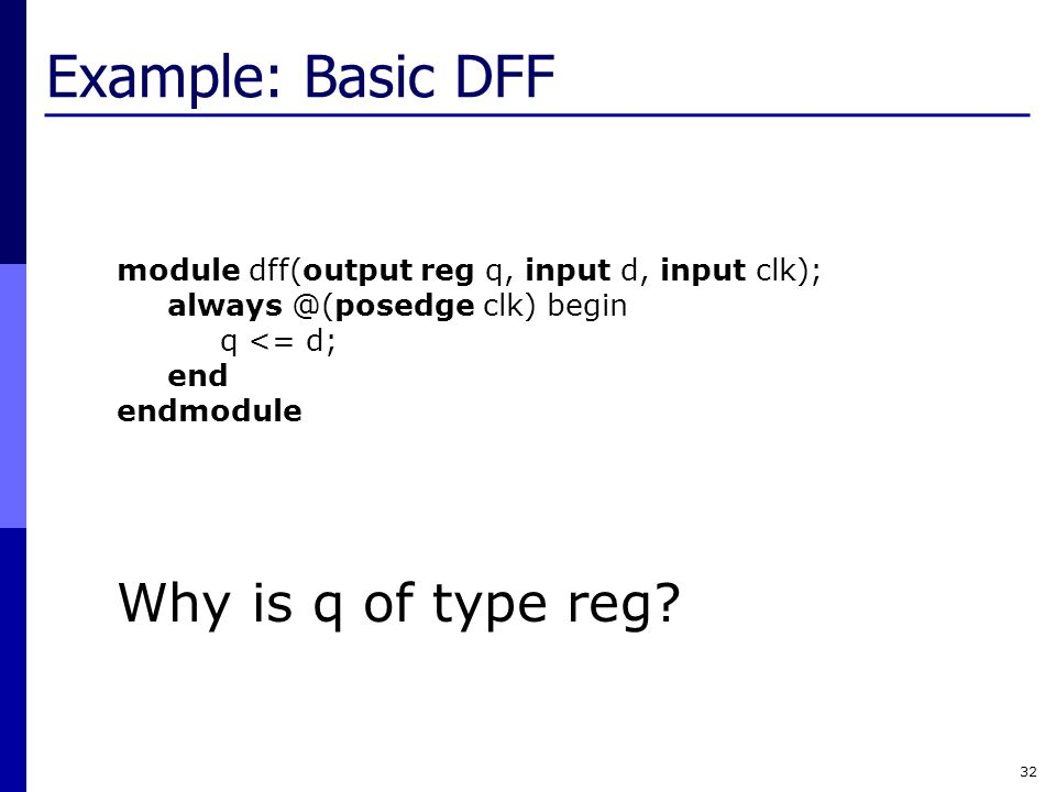 Example: Basic DFF Why is q of type reg