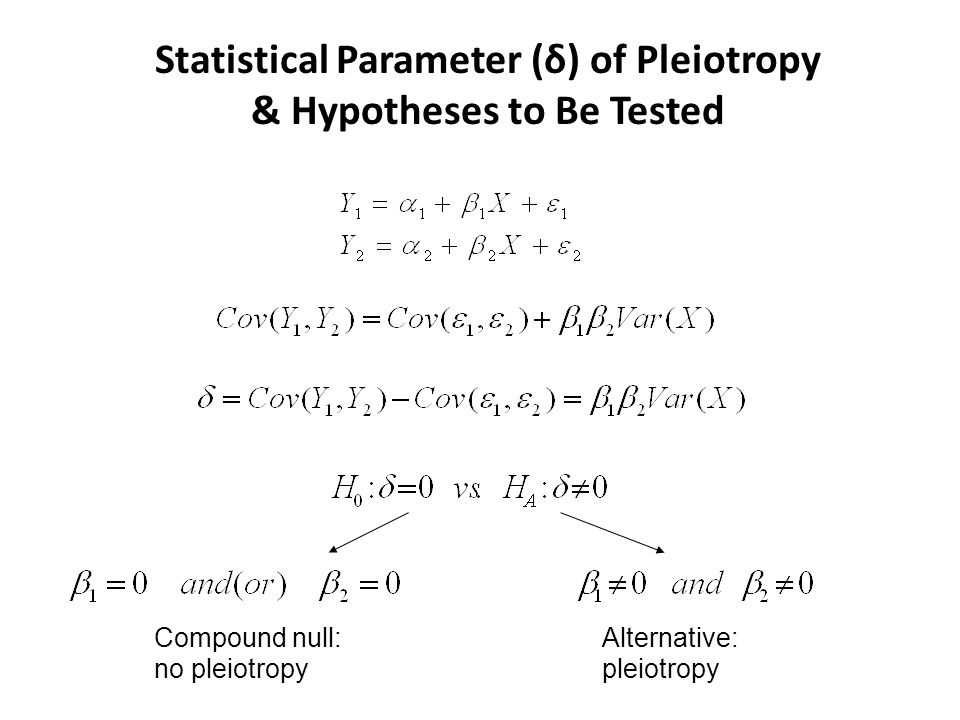 Statistical Parameter (δ) of Pleiotropy & Hypotheses to Be Tested