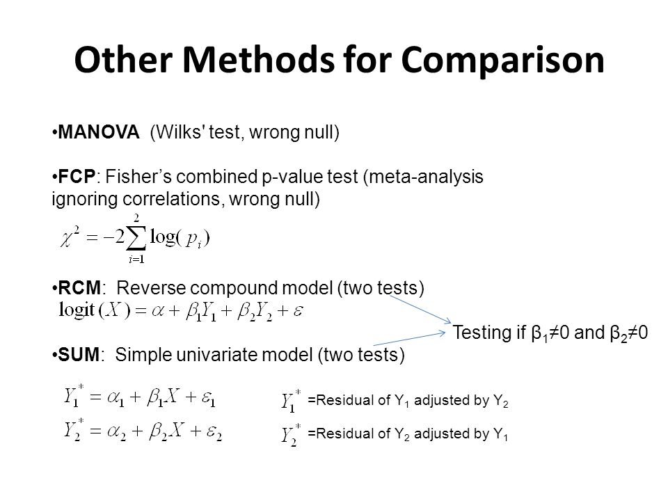 Other Methods for Comparison