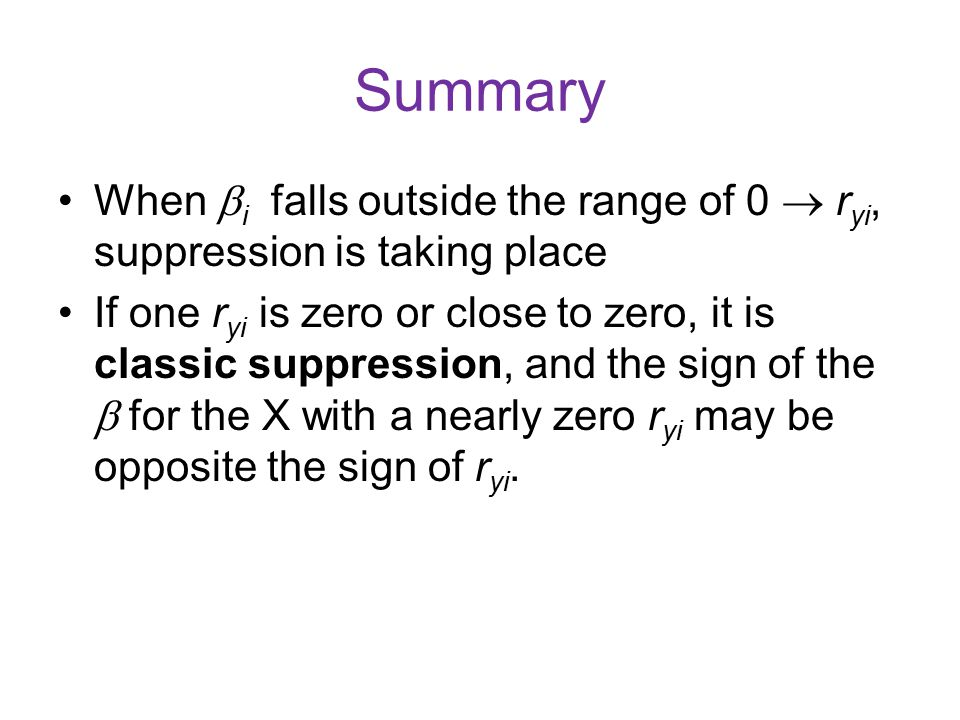 Summary When i falls outside the range of 0  ryi, suppression is taking place.