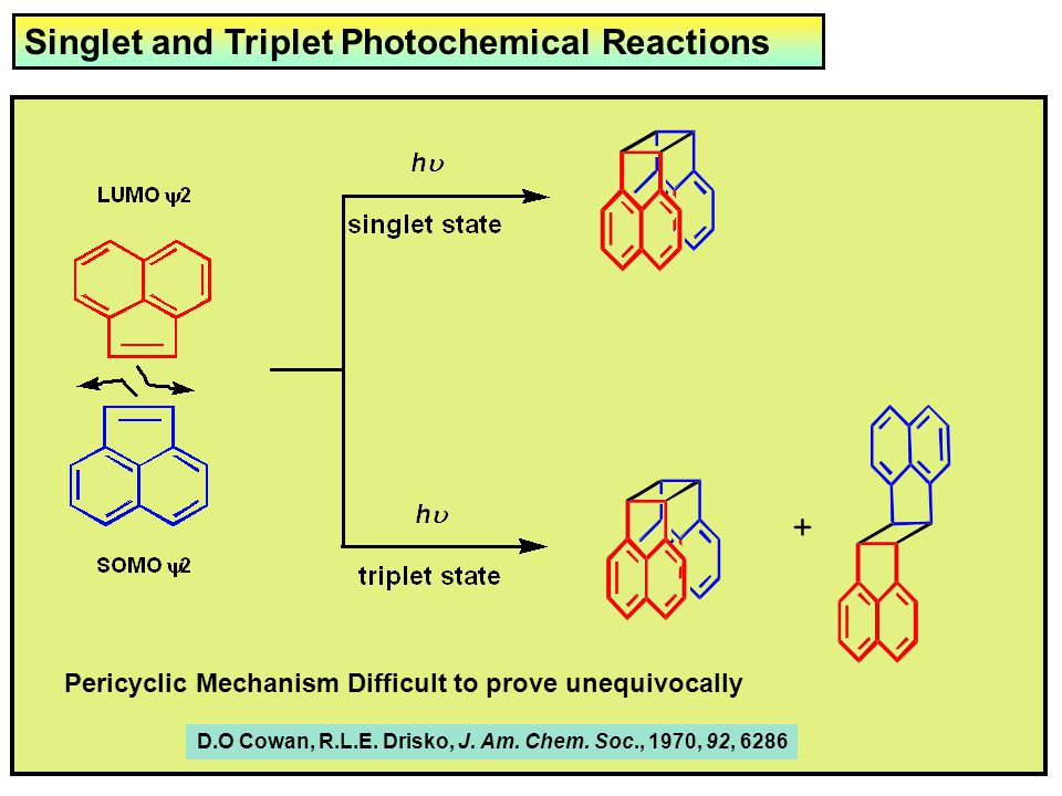 Singlet and Triplet Photochemical Reactions