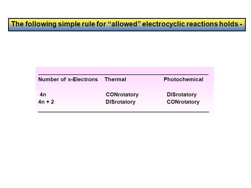 The following simple rule for allowed electrocyclic reactions holds -