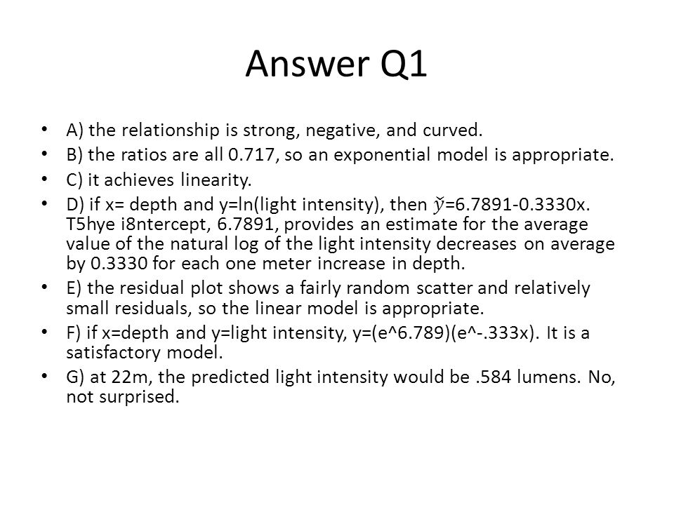 Answer Q1 A) the relationship is strong, negative, and curved.
