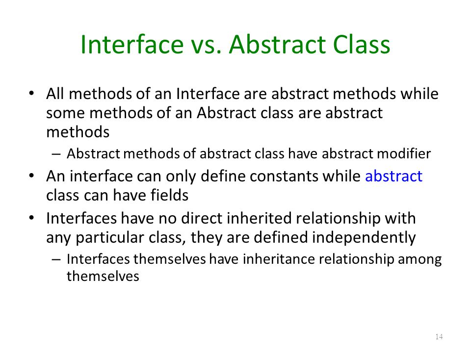 Interface vs. Abstract Class