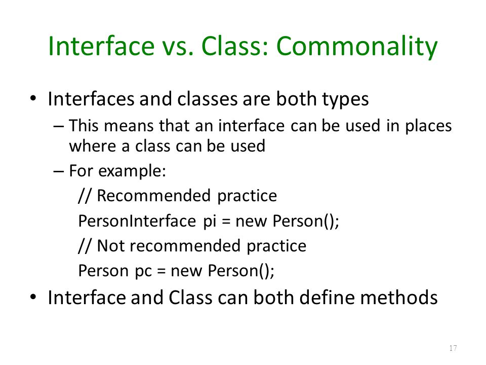 Interface vs. Class: Commonality