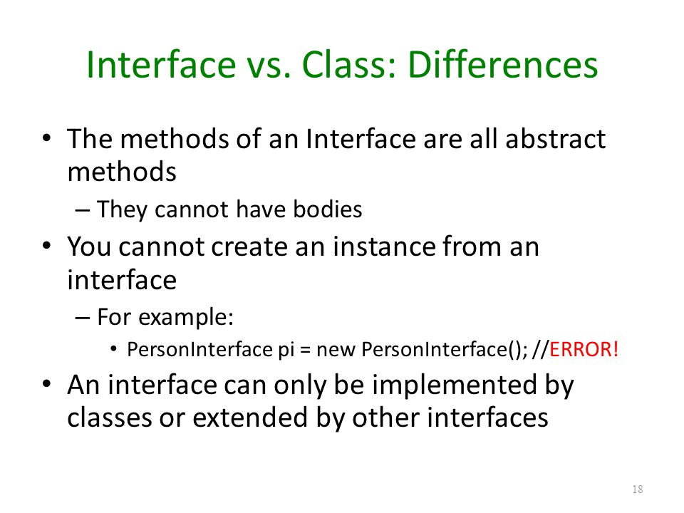 Interface vs. Class: Differences