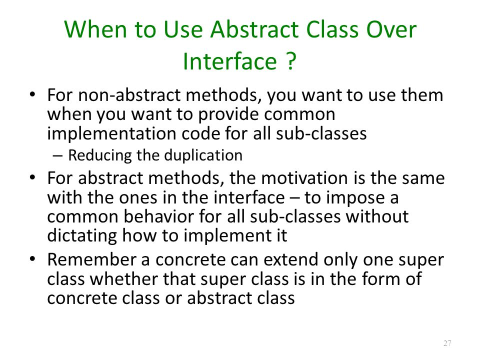 When to Use Abstract Class Over Interface