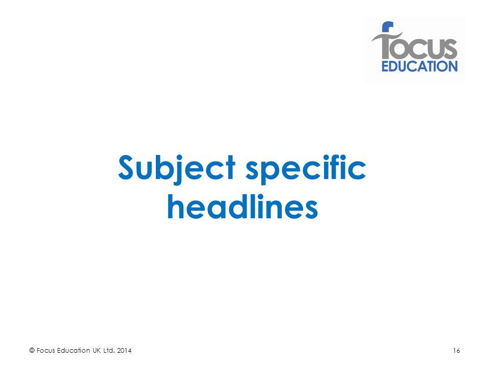 Subject specific headlines