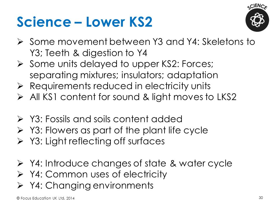 Science – Lower KS2 Some movement between Y3 and Y4: Skeletons to Y3; Teeth & digestion to Y4.