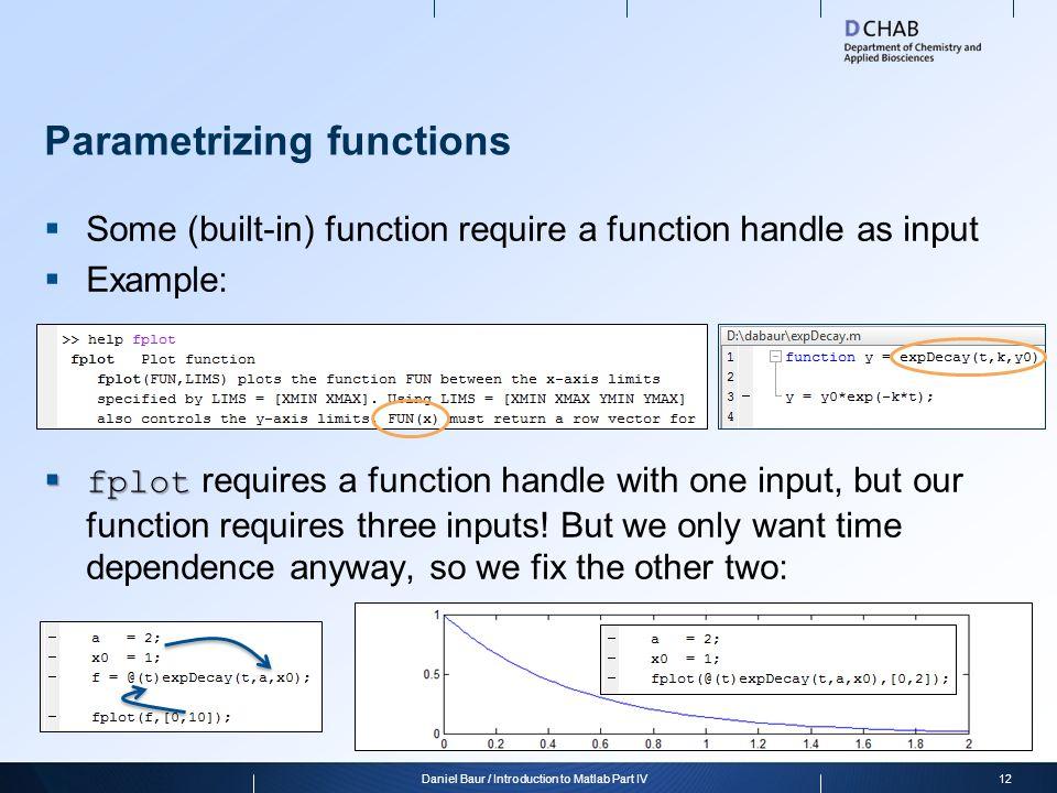 Parametrizing functions