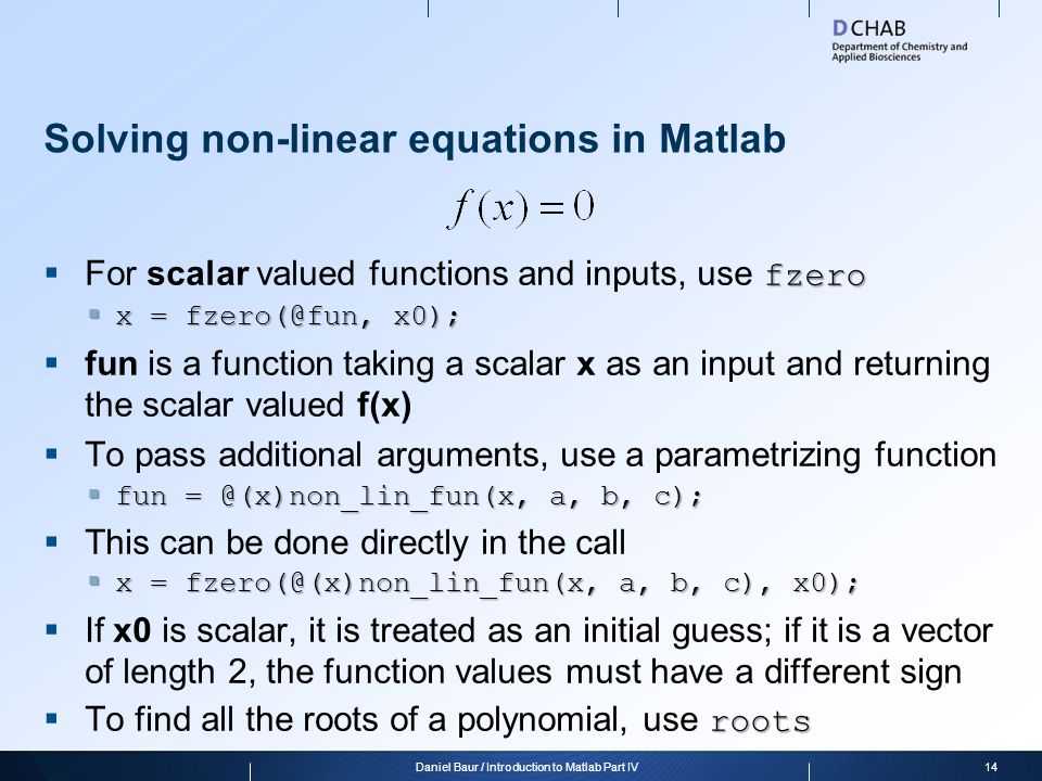 Solving non-linear equations in Matlab