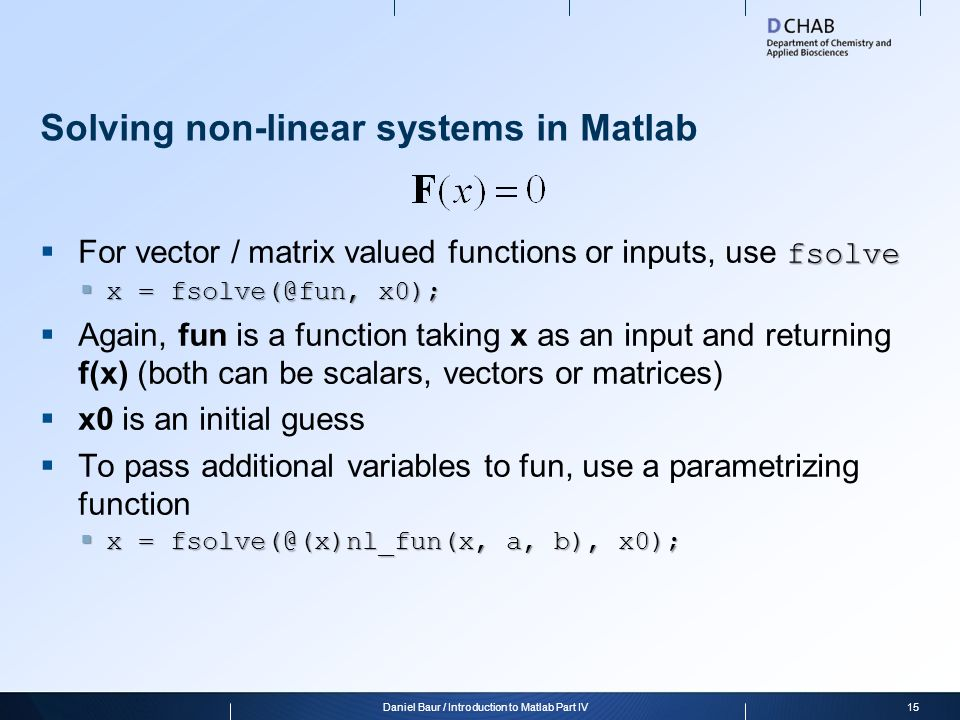 Solving non-linear systems in Matlab