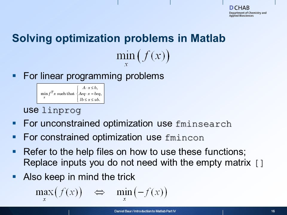 Solving optimization problems in Matlab