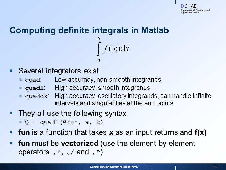 Computing definite integrals in Matlab