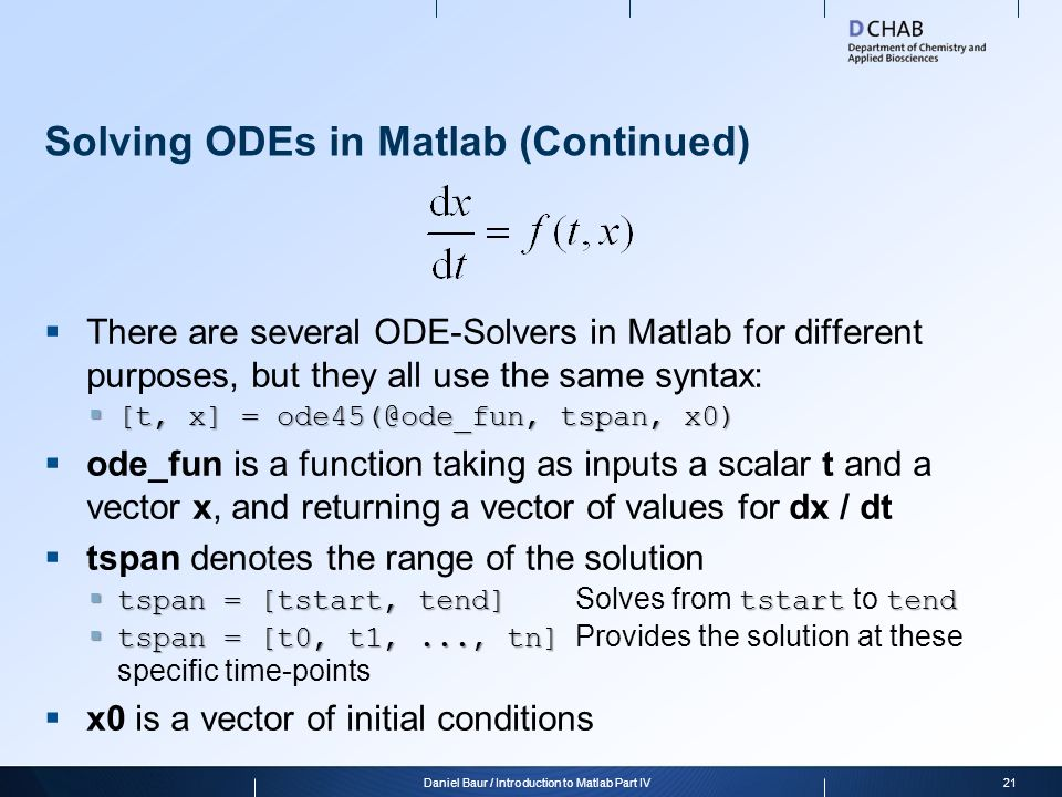 Solving ODEs in Matlab (Continued)