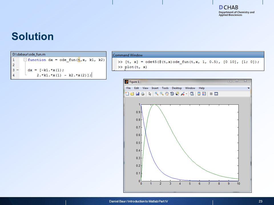 Daniel Baur / Introduction to Matlab Part IV