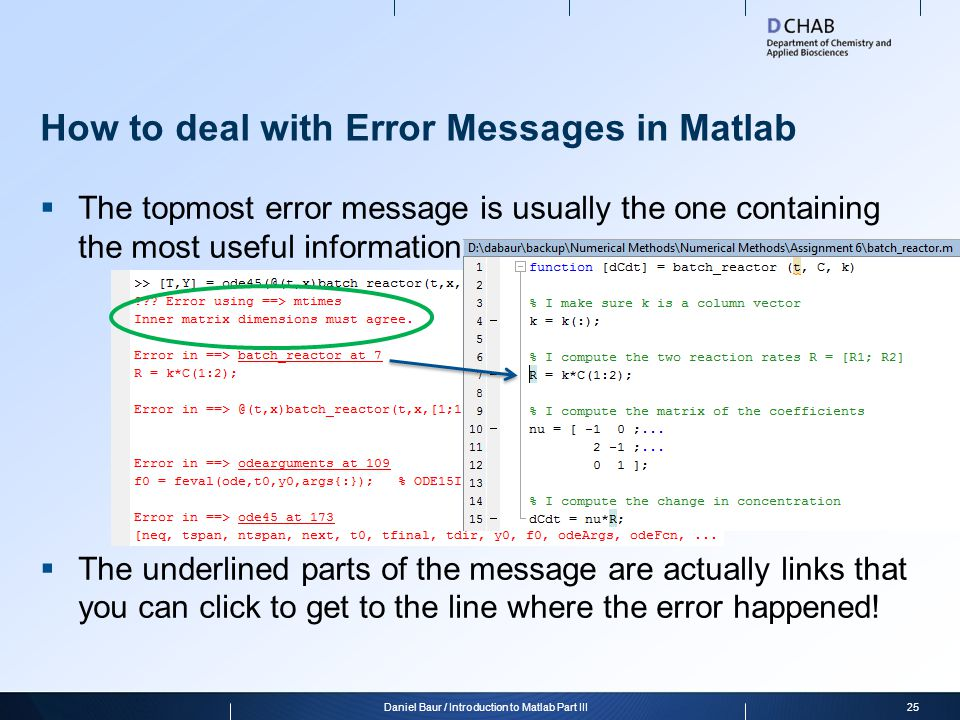 How to deal with Error Messages in Matlab