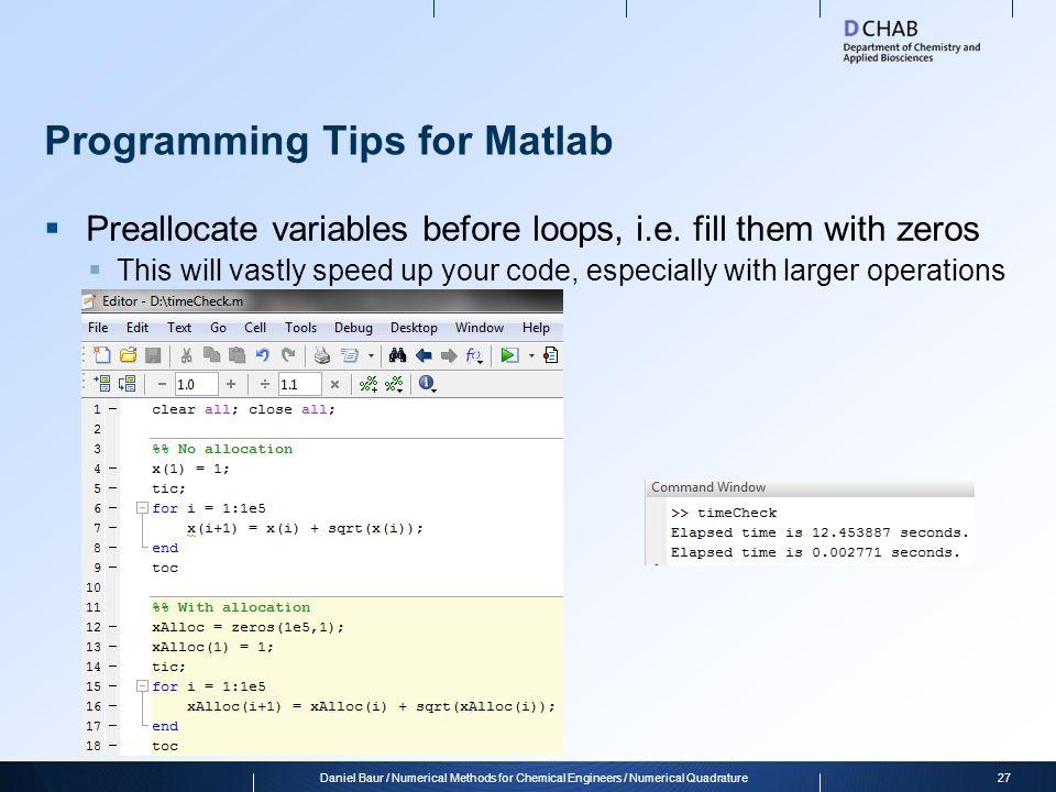 Programming Tips for Matlab
